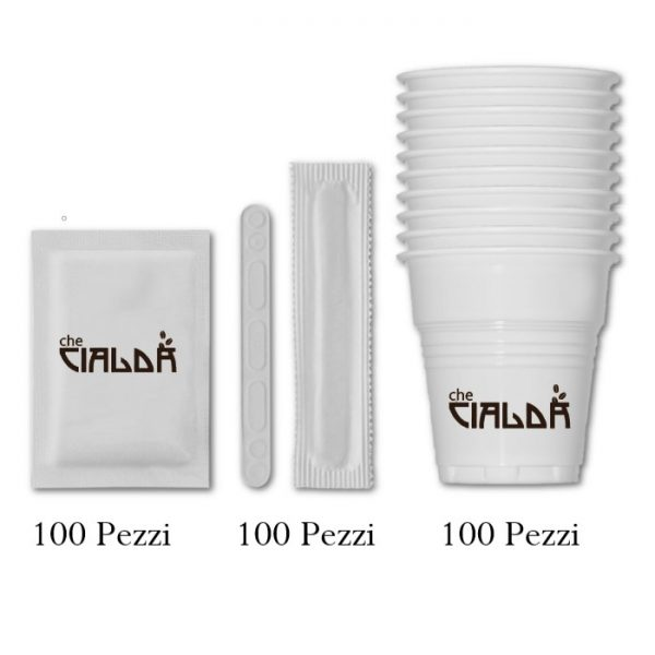 Kit completo 100 caffè: bicchieri, palettine e bustine di zucchero